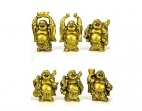 Kit 6 Budas Dourado em Pé 7cm