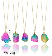 Colar de Cristal Quartzo Drusy Rainbow