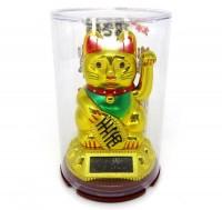 Gato da Sorte Dourado (Manekineko) Mexe o Braço Luz Solar
