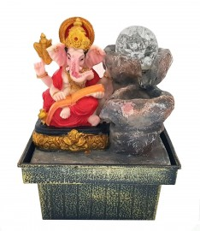 Fonte Ganesha Colorido Com Esfera Bi-Volt