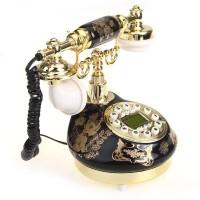 Telefone de Mesa Floral Black Estilo Antigo