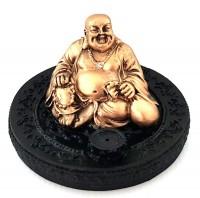 Incensário Buda da Fortuna Dourado Com Cristal