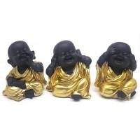 Trio de Monge Budista Dourado