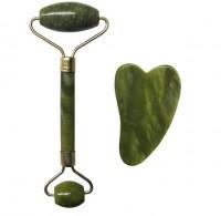 Gua Sha + Rolo de Massagem Facial Jade Verde
