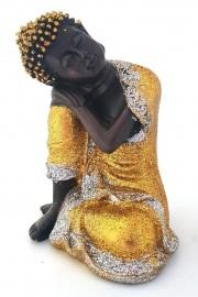 Buda Tibetano Dourado Sentado 15cm