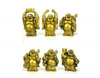 Kit 6 Budas Dourado em Pé 5cm