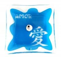 Incensário De Vidro Amor Azul