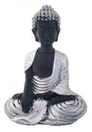 Buda Tibetano Prata Sentado 15cm