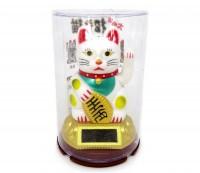 Gato da Sorte Branco (Manekineko) Mexe o Braço Luz Solar