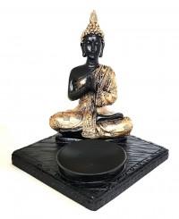 Incensário Buda Meditando Base Quadrada