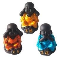 Trio Monges Budista Black 6cm