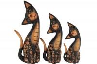 Trio de Gatos com cabeça de lado Batik