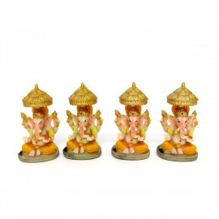 Estatua Ganesha Guarda Sol Resina Mini (KIT 4 UNI)